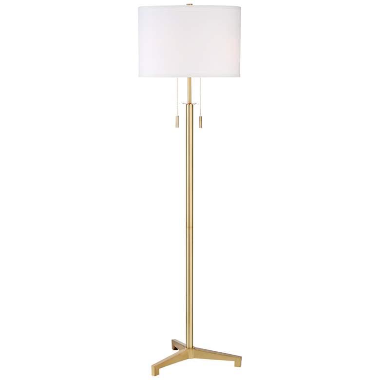 Possini Euro Encino Antique Brass Tripod Floor Lamp