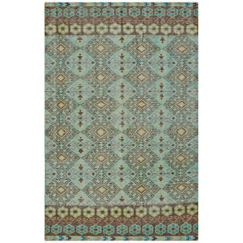 Kaleen Relic RLC04-78 Turquoise Wool Area Rug