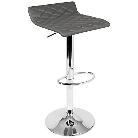 Cavale Gray Faux Leather Adjustable Swivel Bar Stool