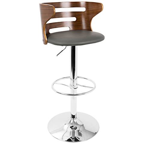 Cosi Gray Faux Leather Walnut Adjustable Swivel Barstool