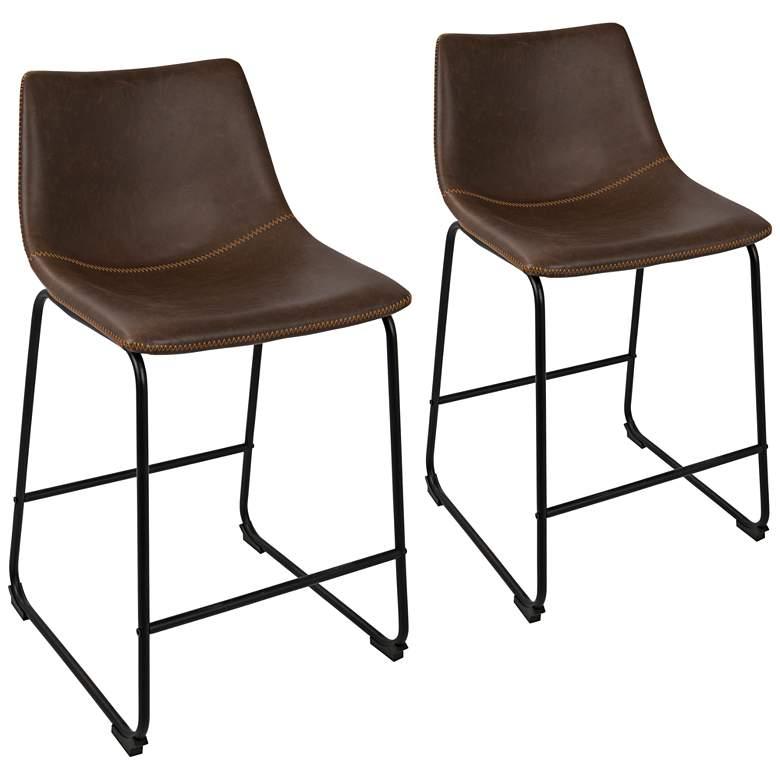Miraculous Duke 25 1 2 Espresso Faux Leather Counter Stool Set Of 2 Beatyapartments Chair Design Images Beatyapartmentscom