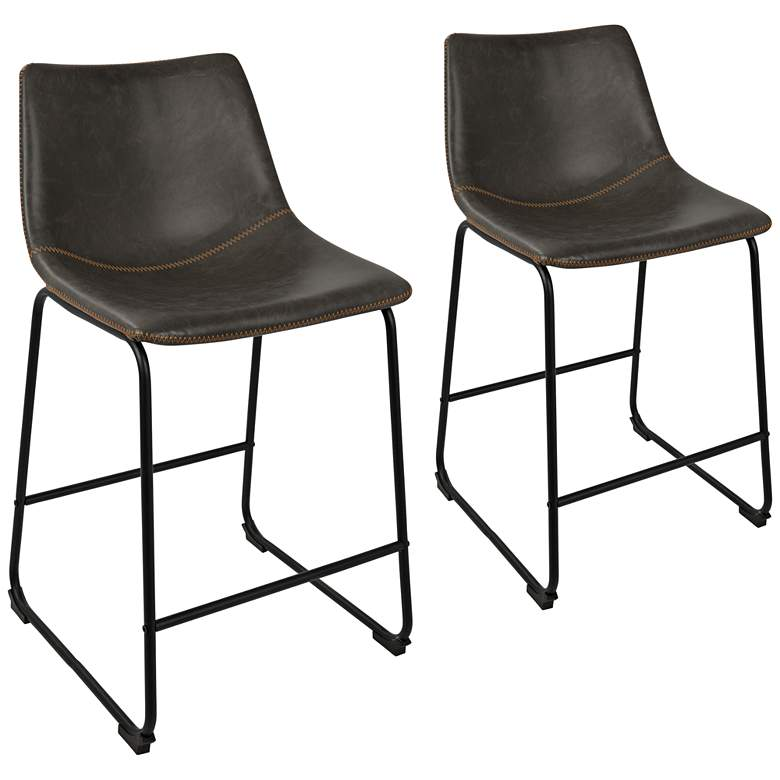 "Duke 25 1/2"" Gray Faux Leather Counter Stools Set of 2"