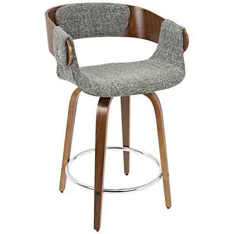 "Elisa 23 3/4"" Gray Fabric and Walnut Counter Stool"