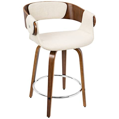 "Elisa 23 3/4"" Cream Fabric and Walnut Counter Stool"