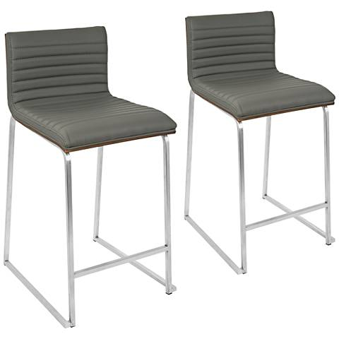 """Mara 26"""" Gray Faux Leather Counter Stool Set of 2"""