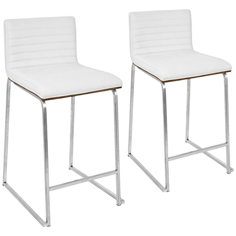 Astounding Mara 26 White Faux Leather Counter Stool Set Of 2 Gmtry Best Dining Table And Chair Ideas Images Gmtryco