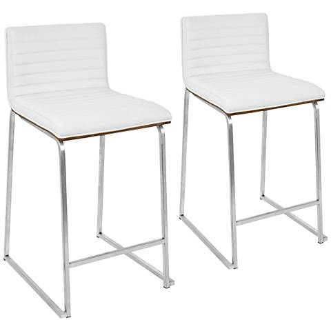 Mara 26 White Faux Leather Counter Stool Set Of 2 33d94 Lamps Plus