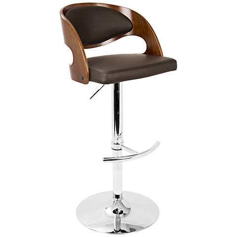 Pino Brown Faux Leather Walnut Adjustable Swivel Bar Stool