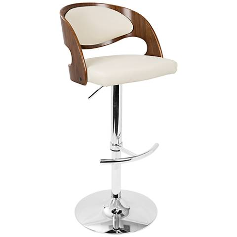 Pino Cream Faux Leather Walnut Adjustable Swivel Bar Stool