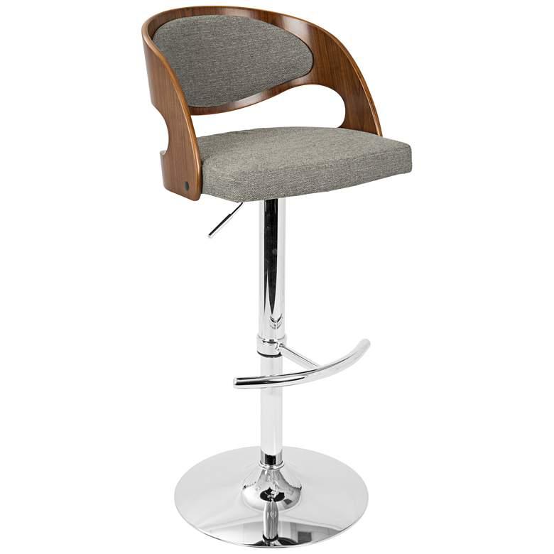 Pino Gray Fabric and Walnut Adjustable Swivel Bar Stool