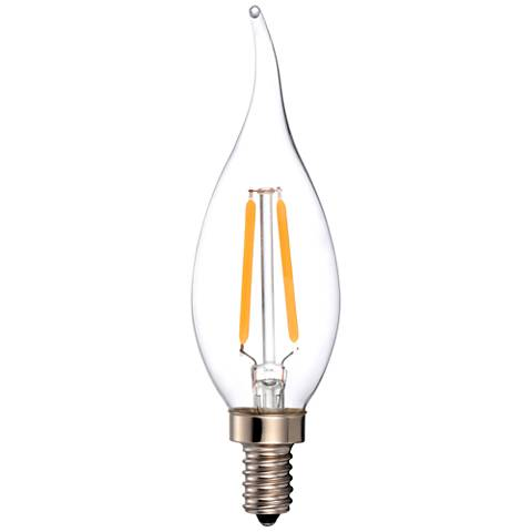 25W Equivalent Clear 2W LED Dimmable Candelabra Flame Tip