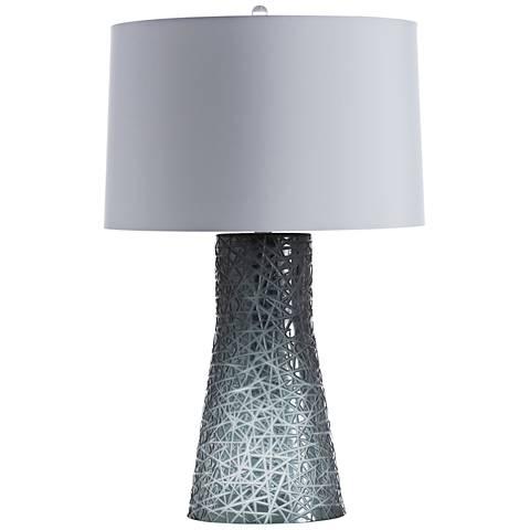 Arteriors Home Hobson Smoke Diamond Etched Glass Table Lamp
