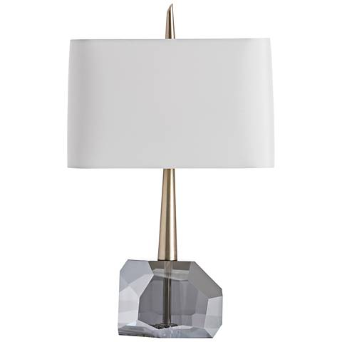 Gemma Smoke Crystal and Pale Brass Accent Table Lamp