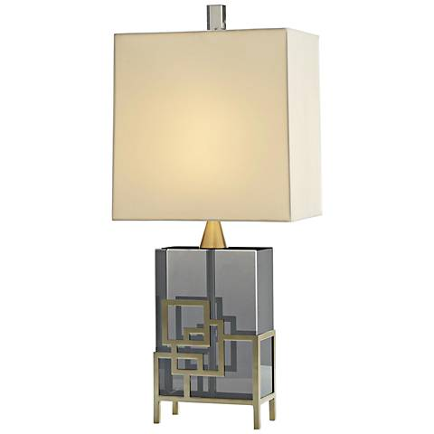 Gayler Smoke Crystal and Pale Brass Table Lamp