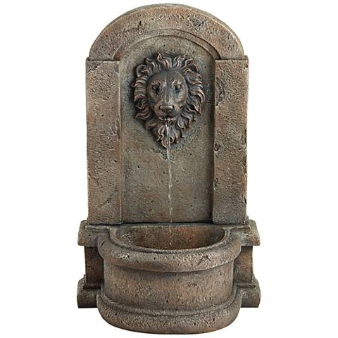 "Lion Head 25"" High Stone Indoor/Outdoor Fountain"