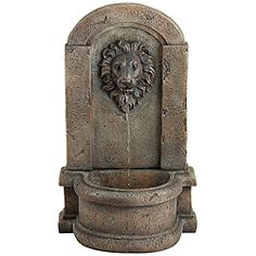 "Lion Head 25"" High Stone Indoor/Outdoor Fountain"