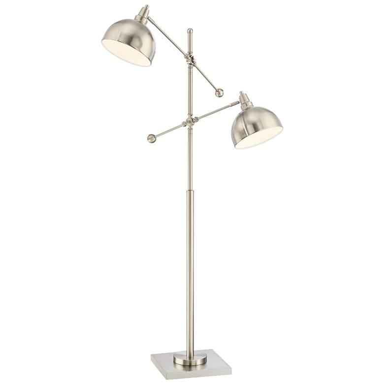 Lite Source Cupola Brushed Nickel 2-Light Metal Floor Lamp