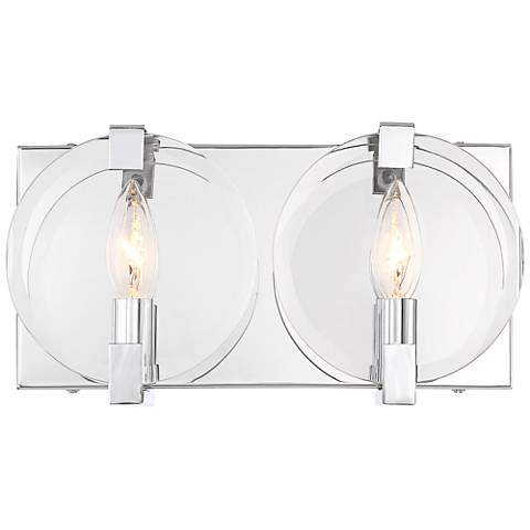 "Possini Euro Collins 6 1/2"" High Chrome 2-Light Wall Sconce"