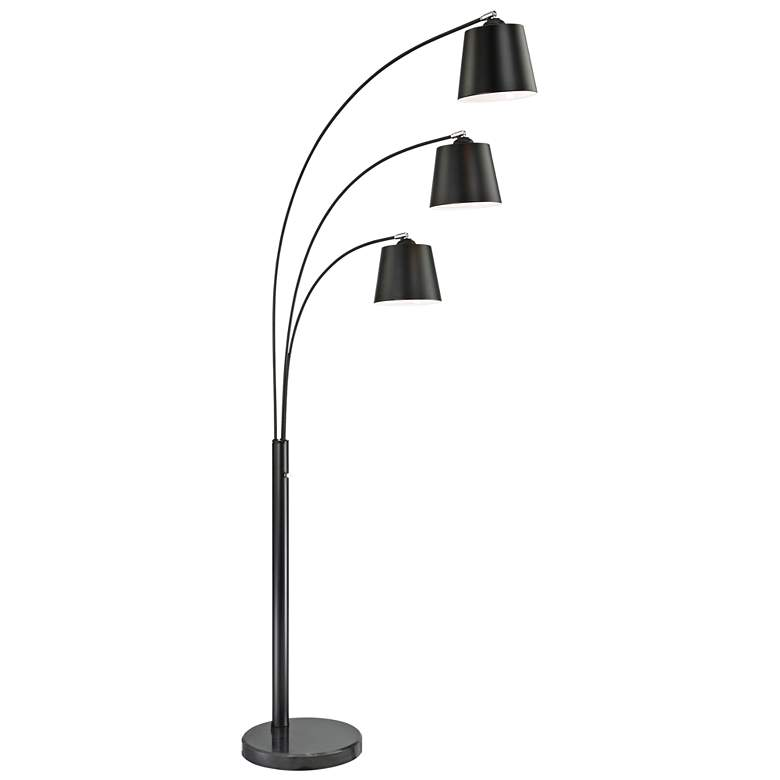 Lite Source Quana Black 3-Light Arc Floor Lamp