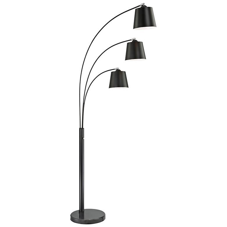 lite source quana black 3 light arc floor lamp 33f37 lamps plus. Black Bedroom Furniture Sets. Home Design Ideas