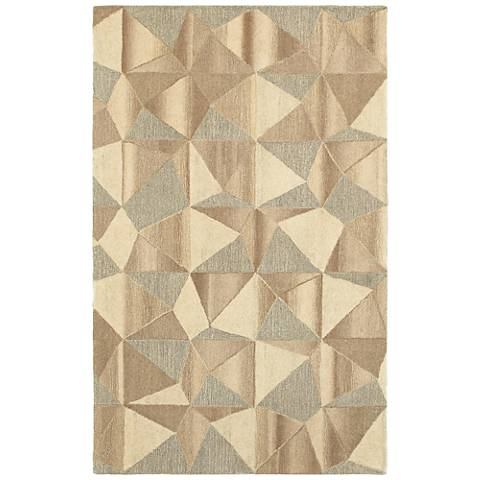 Infused 67004 8'x10' Beige and Gray Wool Area Rug