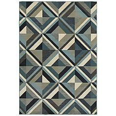"""Linden 7902A 7'10""""x10'10"""" Blue and Gray Area Rug"""