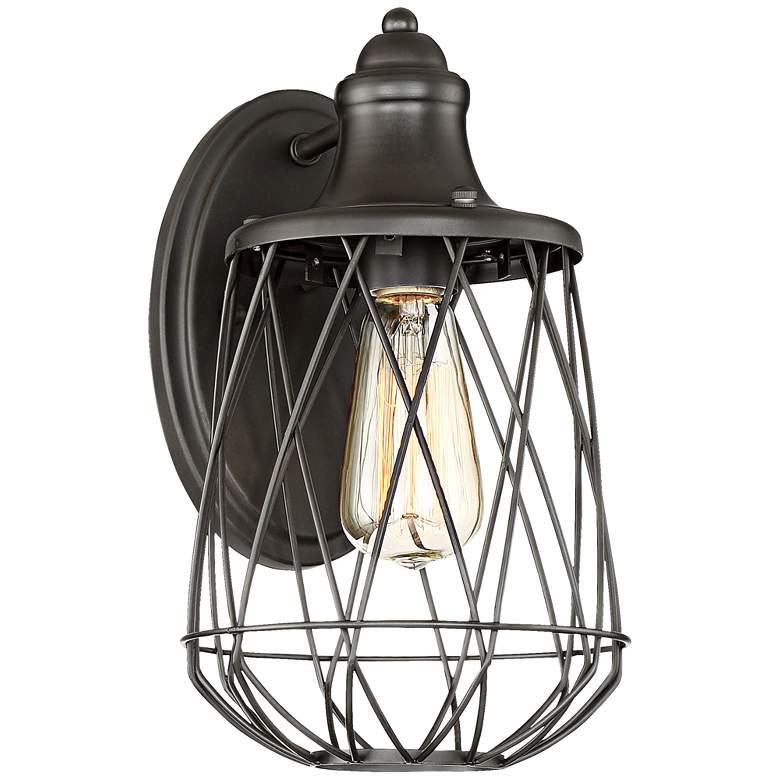 """Rhodes 12"""" High Bronze Caged Wall Sconce"""