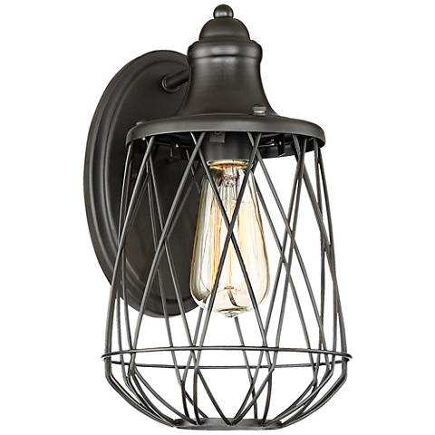 "Rhodes 12"" High Bronze Caged Wall Sconce"