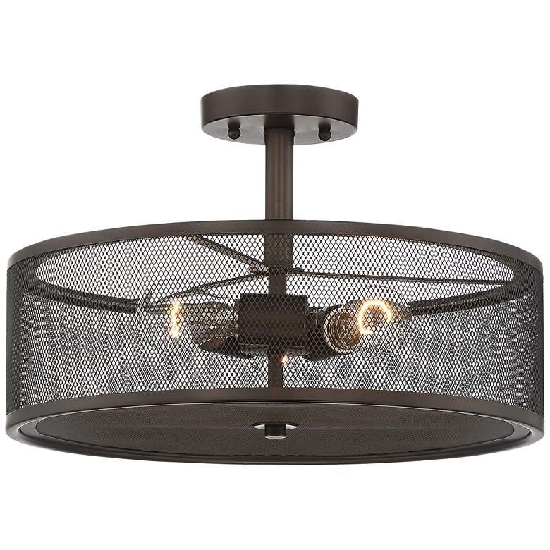 "Rhodes 16"" Wide Bronze 3-Light Drum Ceiling Light"