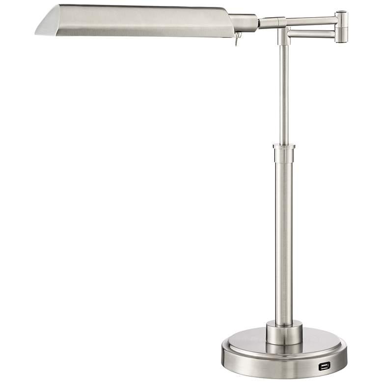 Rivera Swing Arm LED Desk Lamp with USB Port Brushed Nickel