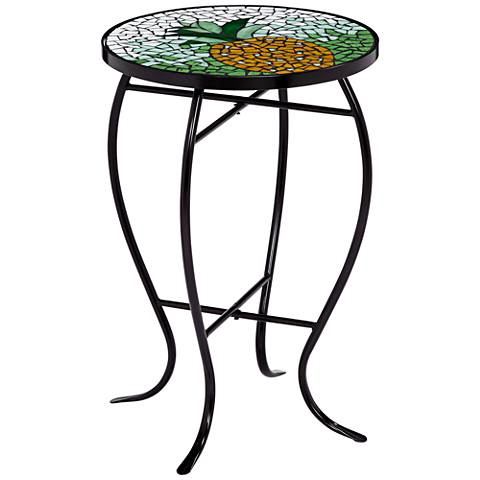 Green and White Pineapple Mosaic Round Outdoor Accent Table