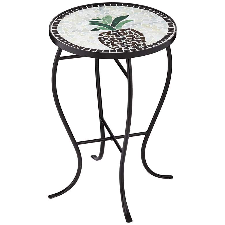 Beige Pineapple Mosaic Round Outdoor Accent Table