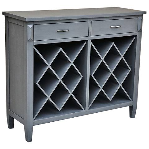 Quincy Pale Gray Wood 2-Drawer Open Wine Accent Cabinet