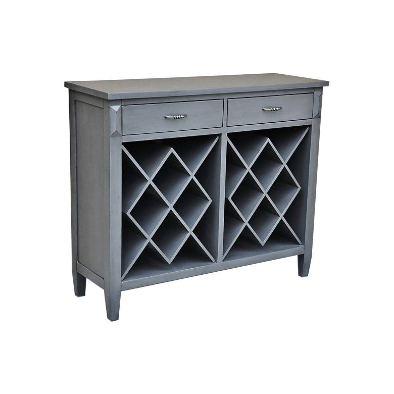 """Quincy 44"""" Wide Pale Gray Wood 2-Drawer Wine Accent Cabinet"""