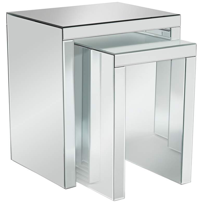 "Fletcher 22"" Wide Beveled Mirror 2-Piece Nested Table Set"
