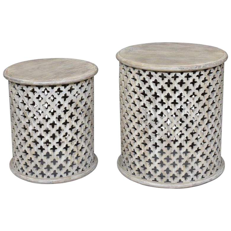 Bengal Manor Whitewashed Wood Accent Tables - 2-Piece Set