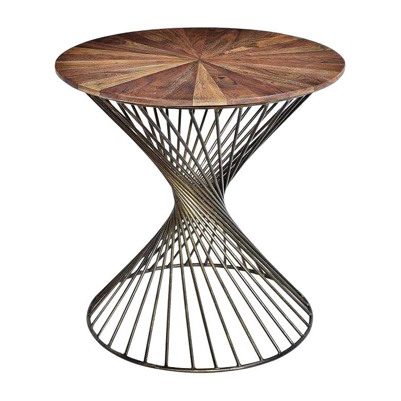 Bengal Manor Natural Wood Top Twist Metal Round Accent Table