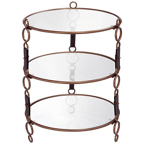 Winchester Gold and Faux Leather 3-Tier Glass Accent Table
