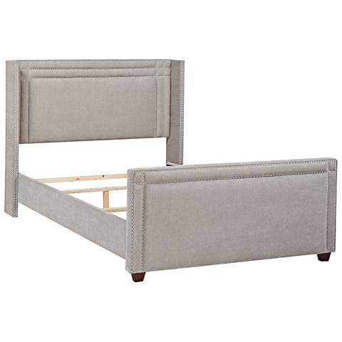 Jennifer Taylor Elle Silver Gray Fabric Queen Wingback Bed
