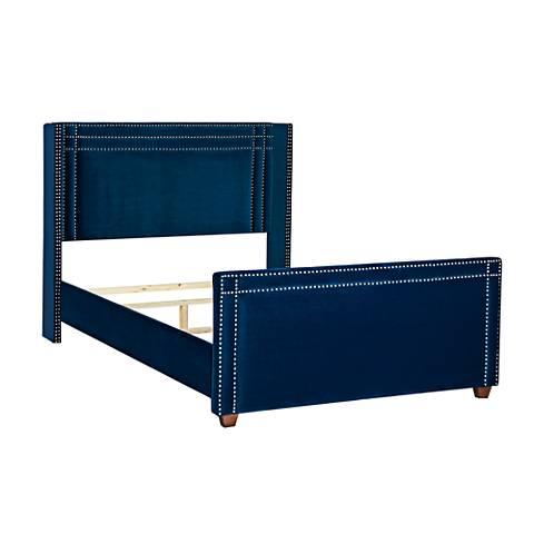 Jennifer Taylor Elle Navy Blue Velvet King Wingback Bed