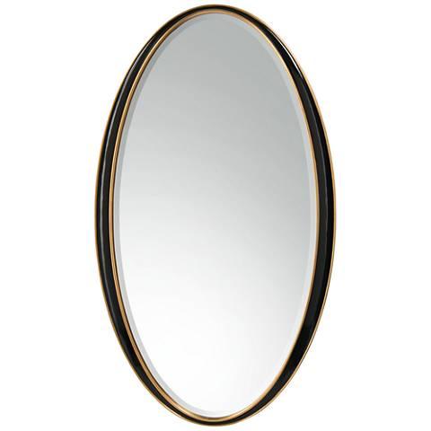 "John Richard Abruzzi Black 38"" x 66"" Oversize Oval Floor Mirror"