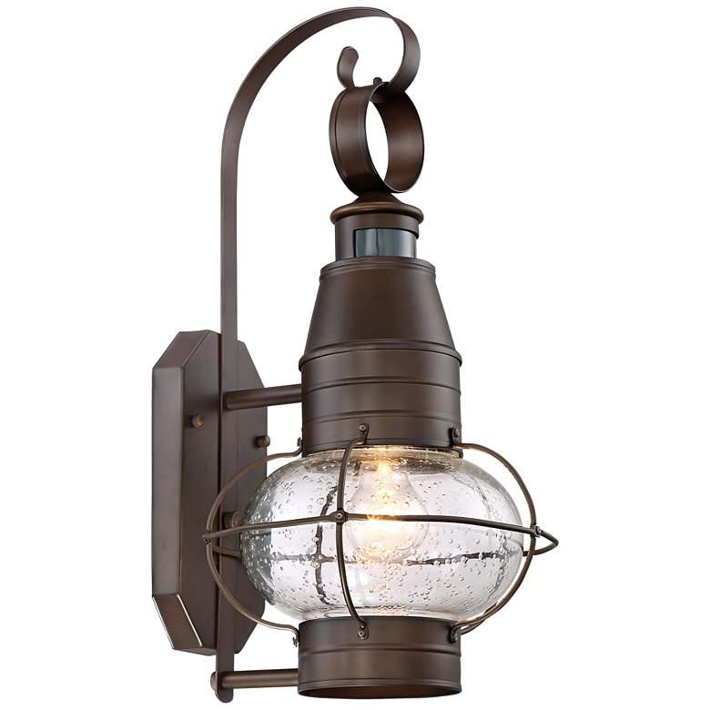 """Galt 19 3/4""""H Rubber Bronze Motion Sensor Outdoor Wall Light"""