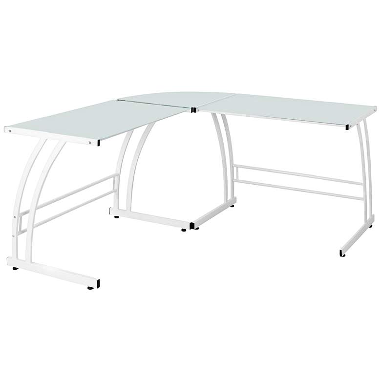 """Gamma 55 1/4"""" Wide Modern White Metal and Glass Work Station"""