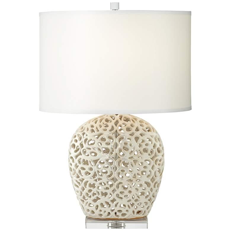 Marilyn Pearl White Ceramic Table Lamp