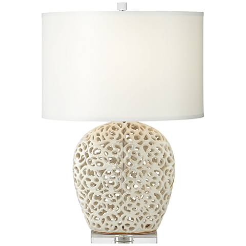 Marilyn Pearl White Ceramic Table Lamp