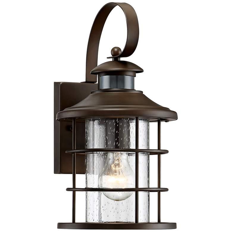 """Hogan 14"""" High Bronze Motion Sensor Outdoor Wall Light"""