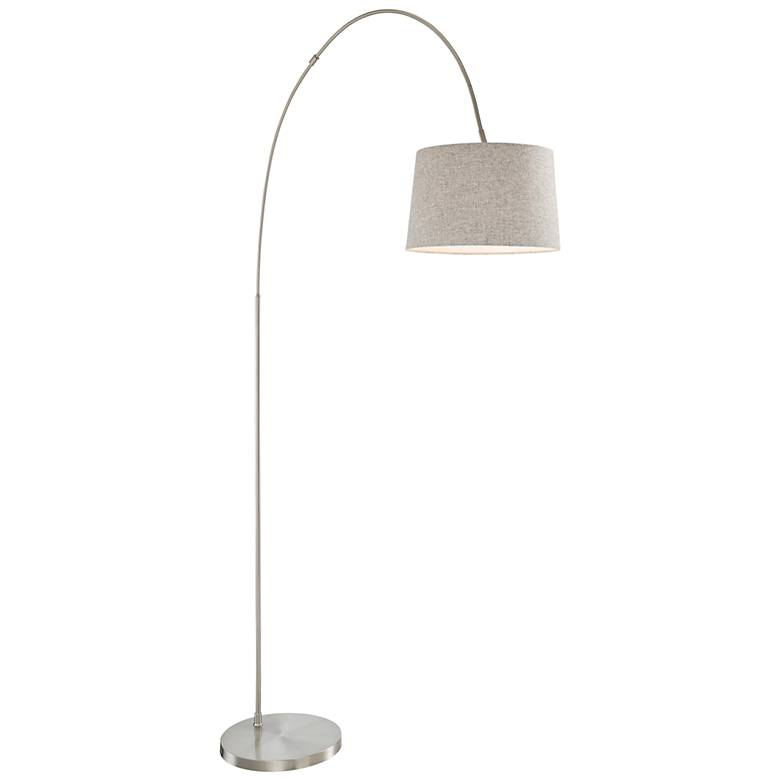 Hooper Brushed Nickel Arc Floor Lamp with Gray Shade