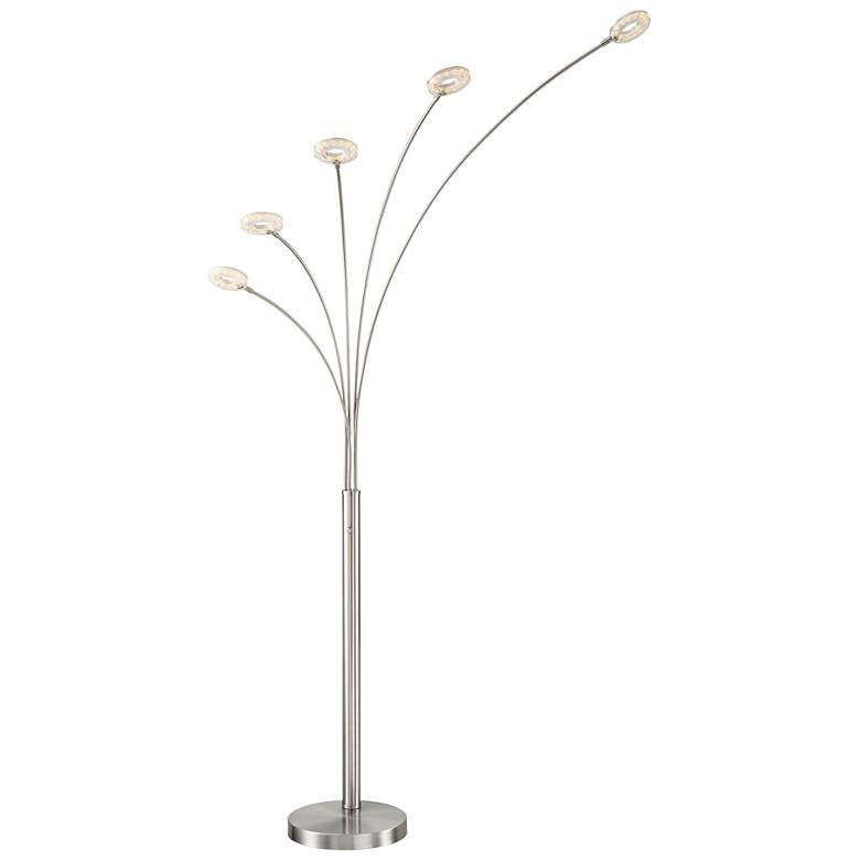 Lite Source Zale Brushed Nickel 5-Light LED Arc Floor Lamp