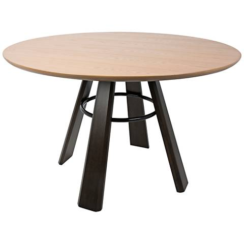 Elton Oak Wood and Espresso Round Dining Table