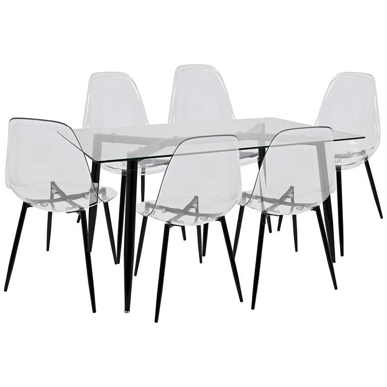 """Clara 59"""" Wide Black and Clear 7-Piece Modern Dining Set"""